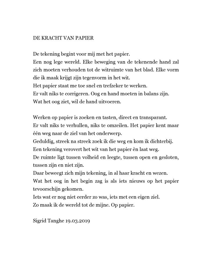 de kracht van papier tekst